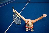 Tennis, Austria, Europe, Ried, Upper Austria, woman, indoor tennis, court, red dress, racket, match, game, girl, indoo