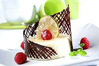 Cream semifreddo with chocolate grille