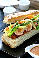 Vegetables and prawns puff pastry
