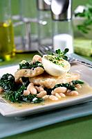 Cod with spinachs, white kidney beans and hard_boiled eggs