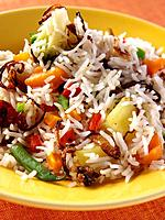 A plate of Kashmiri vegetable rice editorial food