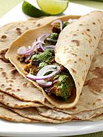 Chicken tikka in a phulka wrap