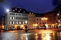 The Hlavne square in the evening, Bratislava, Slovakia.