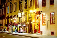 People shopping at night on rue Saint_Louis, Quebec City, Quebec, Canada