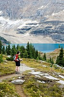 A woman overlooks Lake McArthur in the Lake Ohara Region of Yoho National Park, British Columbia, Canada.