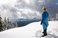 Hiker on top of Mount Seymour in North Vancouver, British Columbia Canada