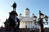 The Lutheran Cathedral. Statue of Czar Alexander II in Senate Square. Helsinki, Finland