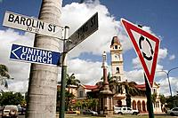 Street sign: circuit and signpost, Barolin St, Bundaberg, East Coast, Queensland, Australia