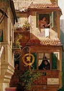 Ü, Kunst, Spitzweg, Carl, 5.2.1808 _ 23.9.1885, Gemälde Der Briefbote im Rosenthal Ausschnitt, um 1845, Marburger Universitätsmuseum für Kunst und Kul...