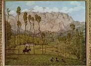 Ü Kunst, Thoma, Hans 2.10.1839 _ 7.11. 1924, Gemälde Landschaft bei Carrara ca. 1910, Neue Galerie, Linz 19. jh, reiter, menschen, gebirge kinder auf ...