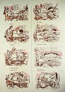 Karikatur, Satire, historisch, Deutschland, Wilhelm Busch, Der Virtuos Ein Neujahrskonzert, Bilderbogen, um 1865, TEXT NOCH IN BEARBEITUNG