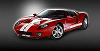 Red Ford GT on grey background