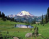 Mount Rainier and Tipsoo Lake from chinook Pass.
