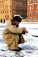 Russia _ St Petersburg _ Fontanka River _ Fisherman
