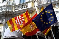 Spain _ Barcelona _ Catalonia _ Spanish and Catalan flags