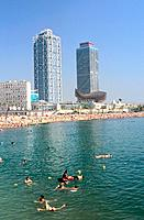 Spain _ Barcelona _ The Olympic Port,The Gehry Whale _ Barceloneta beach