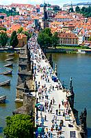Czech Republic - Prague - Mala Strana Prague 1 District - View of Charles Bridge Karluv Most and of... (thumbnail)