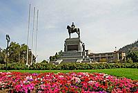 Equestrian monument in square, Santiago de Chile. Chile