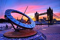tower bridge and giant time sundial dusk sunset london england uk europe