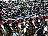 Motorcycles, bikes are parked at an office place Pune, Maharashtra, India