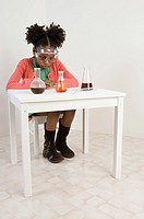 A girl doing an experiment