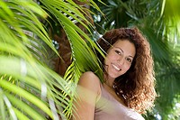 Woman and palm leaves (thumbnail)
