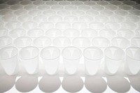 Plastic cups in a row