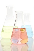 Three volumetric flasks