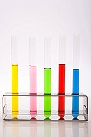 Colorful test tubes in a row
