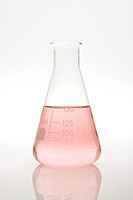 Pink liquid in a volumetric flask