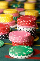Stacked gambling chips