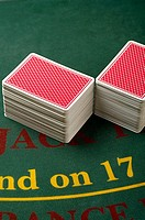 Stacked playing cards in a casino