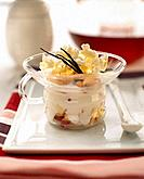 Fruit salad with fromage blanc and popcorn