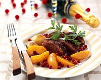 Duck fillet with peaches