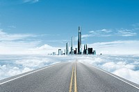 Road leading to skyscrapers amid cloudscape