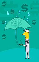 Man standing in rain holding umbrella and dollar symbols in the sky
