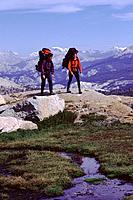 Two Women Hiking in the High Country in Yosemite National Park CA