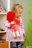nursery, girl, doll, plays, detail, series, people, child, blond, material_doll, holding, carry, activity, alone indoors, symbol, childhood, freely, d...