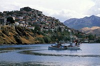 Molyvos, medieval castle view, fishing boat , Greece: N E  Aegean, Lesvos