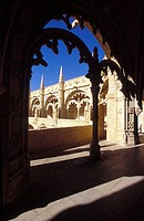 Detail of the Cloister of St Jeronimo Cathedral, Belem, Lisbon, Portugal, Europe