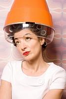 hairdresser´s shop, woman, curlers, dryer, portrait,