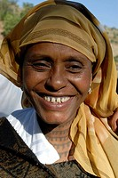 Ethiopia, Nile_cases, woman, young, kerchief, laughing, portrait, Africa, East_Africa, people, natives, headgear, cheerfully, neck, tattoos, naturalne...