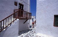 Cyclades, Mykonos Hora, narrow stone paved lane, whitewashed houses