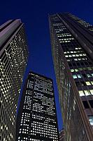 Japan, Tokyo, Shinjuku west, high_rises, detail, from below, twilight, series, Asia, East_Asia, Honshu, city, city, metropolis, skyscrapers, office_hi...
