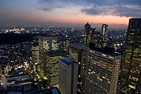 Japan, Tokyo, Shinjuku west, city view, twilight, series, Asia, East_Asia, Honshu, city, city, metropolis, skyscrapers, office_high_rises, business_ho...