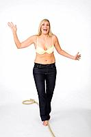 woman, young, bra cozy, barefoot, rope, balances, series, people, 30_40 years, overweight, stout, pants, jeans, blond, long_haired, full_length, fun, ...