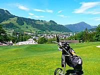 Austria, Tyrol, Kitzbühel, golf course_capes, golfclub_Kitzbühel, fairway, Golfbag, Trolley, place_overview, summer, view, view, sport, hobby, leisure...
