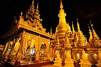 The Shwesandaw pagoda at night Pyay Myanmar