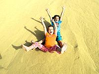 Dune, children, girl, cheerfully, laughing, slides, downhill, rejoices, summer, sand_dune, sand, people, siblings, twins, sisters, friends, two, baref...