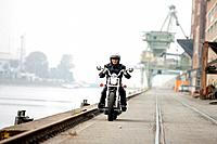 Harbor_streets, motorcyclists, harbor, streets, people, man, drives motorcycle, Chopper, exit, spin, hobby leisure time, Lifestyle, motorcycle_tour ou...